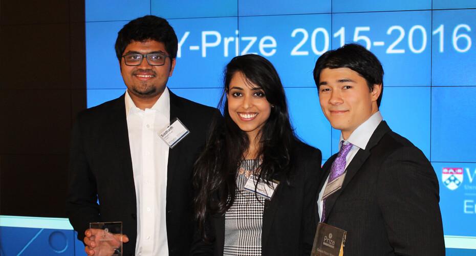 Y-Prize 2015-2016 winners Siddharth Shah, Shashwata Narain & Alexander David